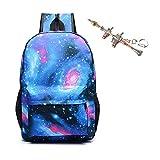 Kuccy Zaino luminoso, borsa per notebook stampa esterna Computer Boy Girl School zaino Galaxy Schoolbag, blu