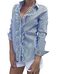 Rayures Verticales Chemise Femme, LMMVP Féminin Mode Feuille de Lotus Manches à Manches Longues Tops Shirt Blouse (xl, bleu)