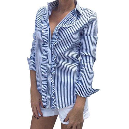 LMMVP Hemdbluse für Damen, vertikale Streifen, Damenmode, mit Rüschen, langärmlig, Top, T-Shirt, Bluse xl blau (Lace Bustier Belle)