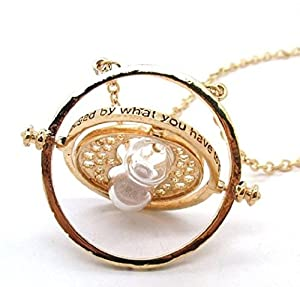 Harry Potter Time Turner Necklace Hermione Sand Timer with–and we will send a Pendant Silver Free Comperi Two of Each Item