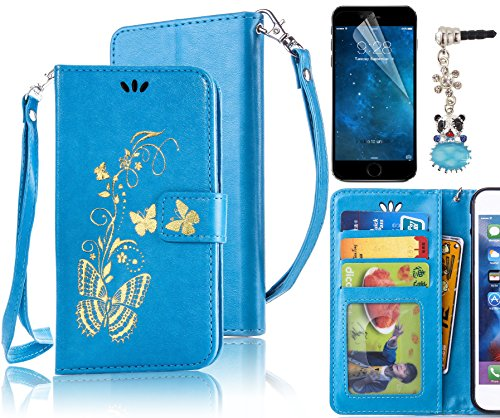 Sunroyal® Custodia per Apple iPhone 5C, Portafoglio Wallet Flip Libro Dipinto Case Cover in PU pelle Borsa Chiusura Magnetica Shock-Absorption Ultra Slim TPU Silicon Gel Protezione Con Anti-Dust Stras Farfalla doro - Blu