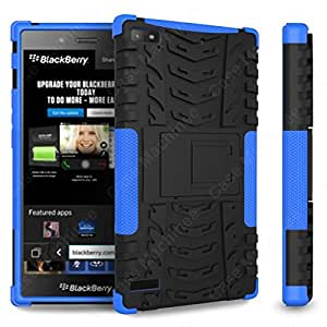 Heartly Flip Kick Stand Hard Dual Armor Hybrid Rugged Bumper Back Case Cover For Blackberry Z3 - Blue