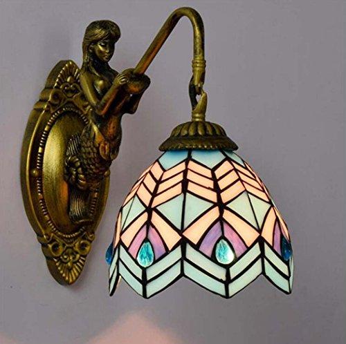 Glight Tiffany-Art-Wandlampe, Kreativität-einfache Buntglas-Kunst-Wand-Lampe, Blaue Mittelmeerentwurfs-Wandleuchten für Wohnzimmer-Schlafzimmer-Nachtbar-Gasthaus E27 ohne Lichtquelle (Farbe : EIN) - Tiffany Wand Lampe