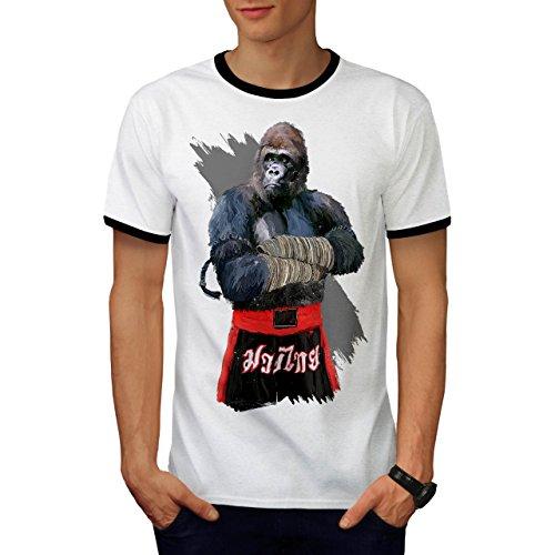 Pinguin Ringer T-shirt (Affe Kämpfer Box Tier Tier Boxer Herren M Ringer T-shirt | Wellcoda)