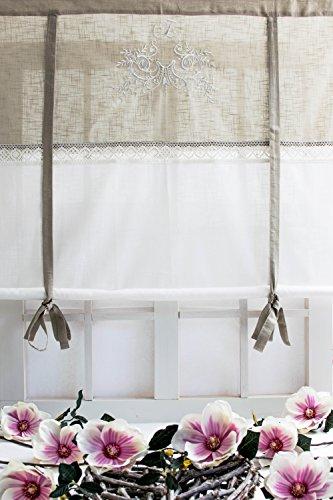 Flora offwhite bestickt 100x120cm Raffgardine mit Spitzenborte Shabby Chic Vintage Landhaus Franske Leinenoptik