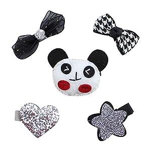 Eudola Kinder Haarspange, Bogenknoten Panda Haarnadel Niedlich Haarspange-Set Haarclips Haarklammern Haarschmuck Mädchen und Kinder