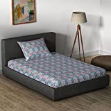 Core Designed By Spaces 104 TC Cotton Single Bedsheet With Pillow Cover - Abstract, Grey