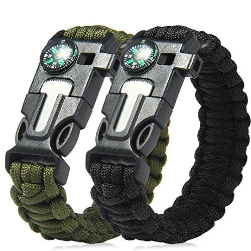 Lot de 2 extérieur d'urgence Paracord Bracelets de survie Gear kit avec boussole, Rescue Corde, Fire Starter, Raclette/couteau de secours, sifflet pour le camping, randonnée, Trekking, Voyage