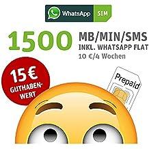 WhatsApp SIM Prepaid [SIM, Micro-SIM, Nano-SIM] - Starterpaket mit 15 EUR Guthabenwert, ohne  Vertragsbindung, Option mit 1500 Einheiten für MB/MIN/SMS + EU inklusive, jederzeit kündbar, Surf-Geschwindigkeit: 21,6 MBit/s LTE