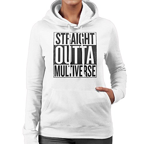Straight Outta Multiverse Rick And Morty Women's Hooded Sweatshirt white