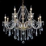 Lampadario di Cristallo Candela Colore Ottone Anticato Gocce Cristallo Decorativo Lampade-8+4 Luci
