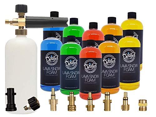 DetailedOnline Schaumlanze + 10 gemischte Flaschen Lava Schneeschaum - passend für alle Hochdruckreiniger