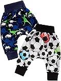 Klekle Baby Jungen Pump Baggy Mitwachs Stoff Hose 2er Set Dino Navy Ball Schwarz 22783 Größe 92