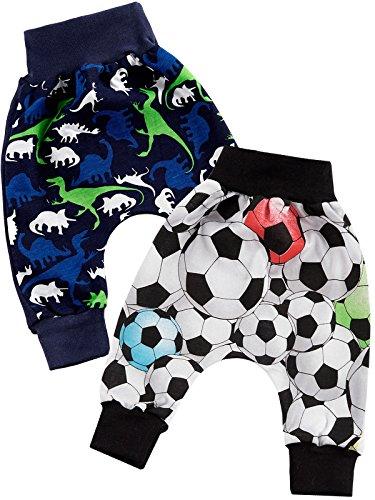 Klekle Baby Jungen Pump Baggy Mitwachs Stoff Hose 2er Set Dino Navy Ball Schwarz 22783 Größe 74 -