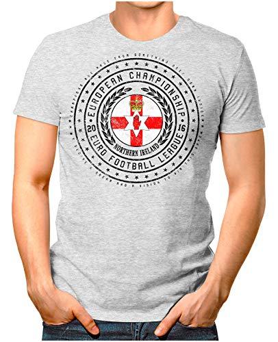 OM3® - Northern Ireland - Herren T-Shirt Nordirland Wappen Fußball Trikot EM'16 WM Championship Vintage Grau Meliert 4XL