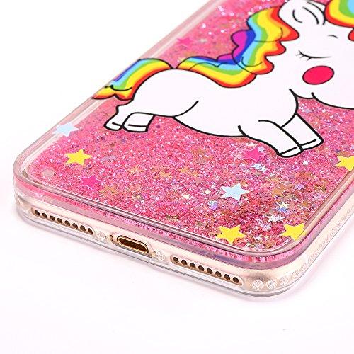 iPhone 7 Plus 5.5 Hülle, Voguecase Silikon Schutzhülle / Case / Cover / Hülle / TPU Gel Skin für Apple iPhone 7 Plus 5.5(Perlen Treibsand - MISS BOSS - Gold) + Gratis Universal Eingabestift Regenbogen Einhorn / Pink