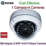 Überwachungskamera, 1080P, 2 MP, 360 Grad Weitwinkel, Panorama, AHD, TVI, CVI, mit 15 IR Infrarot-LEDs, Tag-/Nachtsicht