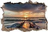 Strand Öl Effekt Wanddurchbruch im 3D-Look, Wand- oder Türaufkleber Format: 62x42cm, Wandsticker, Wandtattoo, Wanddekoration