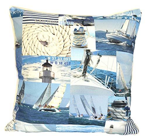 Konfektion Jürgen Schleiß Kissen maritim Motiv Karo Patchwork Seegelschiff blau/Dekokissen aus 100% Baumwolle/Couchkissen Made in Germany in versch.Größen 40x40-60x60 (40x40) -