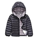 Jitong Bambini Cappotto con Cappuccio Ragazzi Caldo Manica Lunga Giacche Piumino Packable Invernali Hoodies (Nero, 150cm)