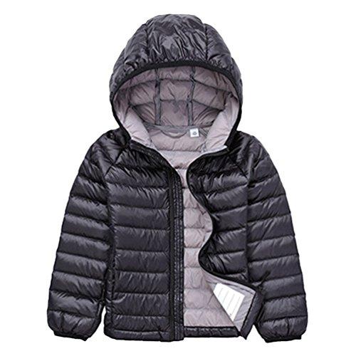 Jitong Jungen Langarm Hoodies Steppjacke Gesteppt Leicht Verpackbar Daunen Mantel Mädchen Daunenjacken (Schwarz, 150cm)