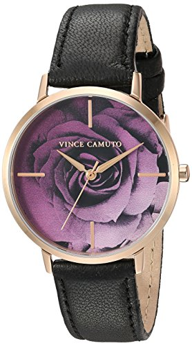 Vince Camuto Women's VC/5348RGBK Rose Gold-Tone and Black Leather Strap Watch