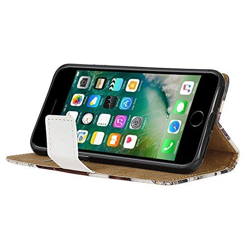 """WindCase Prime Housse en Cuir Étui à rabat Case pour iPhone 7 4.7"""" Coque US Cat Motif Portefeuille de Protection avec Béquille Tour Eiffel Postcard"""