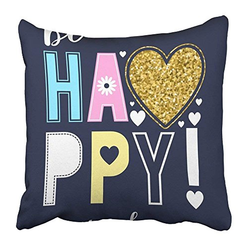 No Soy Como Tu kissenbezüge Print 18 x 18 Inch Black Girl Be Happy Evey Day Slogan and Glitter Heart Colorful Graphic Boy Tee Cute Baby Summer Square Zipper Polyester Home Sofa Decorative Case
