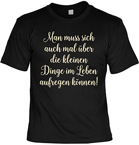 lustiges witziges T-Shirt Funshirt Leiberl mit Mini Shirt - Geburtstag Geschenk Geschenkidee Weihnachten Papa Freund Karneval ... Schwarz