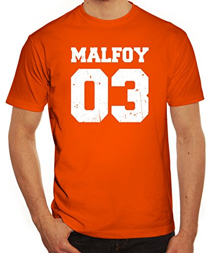 Fanartikel Fan Kult Film Trikot Herren T-Shirt Malfoy 03, Größe: XL,Orange