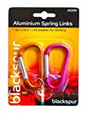 ALUMINIUM SPRING LINKS CLIPS HOOKS CAMPING CARABINER 8CM TWO COLOUR by Blackspur