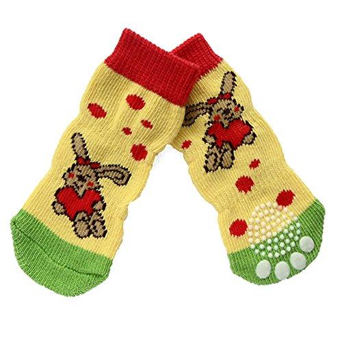 Pet Dog Outdoor Sports Calcetines Zapatos, 4 piezas de moda antideslizante antideslizante a prueba de agua Paw Shoes con calcetines de algodón suela de goma para perros pequeños / medianos / grandes (Lengthen L)