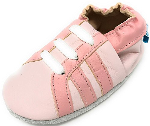 MiniFeet Premium Weiche Leder Babyschuhe, Rosa Trainers 18-24 Monate