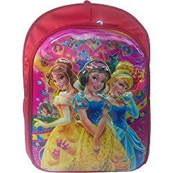 3D Disney Cinderella Princess, Barbie, Red & Pink Children's / kid's Backpack water proof, school bag for class / standard, Pre Nursery, Nursery, UKG, KG, first 1st, second 2nd, 3rd third, class girls 25 Liter, 16 Inch