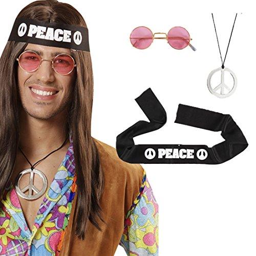 Hippie Set 70er Jahre Accessoires Peace Kette Stirnband Brille Flower Power Hippieset 60er Jahre Verkleidung Friedenssymbol Kostümset Karneval Kostüm Zubehör (60er Jahre Kostüme Erwachsene)