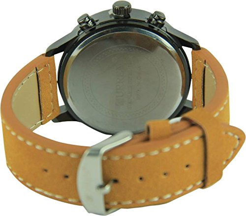 Talgo 2017 New Collection Curren Festive Season Special Black Round Shapped Dial Brown Leather Strap Party Wedding | Casual Watch | Formal Watch | Sport Watch | Fashion Wrist Watch For Boys and Men | Curren M-8152