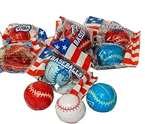 Sugarman Candy Baseball Bubble Gum Balls by Vidal - Individually Wrapped...