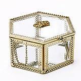 Schmuckkästchen/Schmuckkästchen / Schmuckkästchen aus Messing, mit Metallrahmen, transparent, Metall, durchsichtig, Hexagon