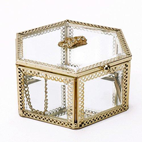 Schmuckkästchen/Schmuckkästchen / Schmuckkästchen aus Messing, mit Metallrahmen, transparent, Metall, durchsichtig, Hexagon -