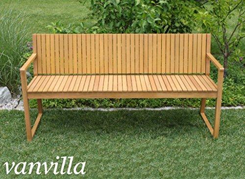 vanvilla Gartenbank Holz Holzbank Sitzbank 3-Sitzer Gartenmöbel Holz ALEGRIA Sitzauflage GRAU - 3