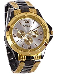 Watches Analogue Black And Gold White Dial For Men's & Boy's Watch -Rosra