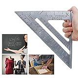 Regla de triángulo de aluminio de 7 pulgadas Velocidad cuadrada Estructura de carpintero Herramienta de diseño de regla de medición triangular