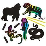 """Baker Ross Kratzbild-Magnete """"Dschungeltiere"""" für Kinder Zum Basteln, Gestalten und als Deko-Idee im Sommer (12 Stück)"""