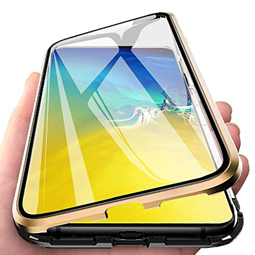 DoubTech Rundum Hülle für Samsung Galaxy S10e Magnetische Adsorption Handyhülle 360 Grad Schutzhülle Stark Magneten Aluminiumrahmen Dual Haptik Gehärtetes Glas Stoßfest Metall Flip Cover -