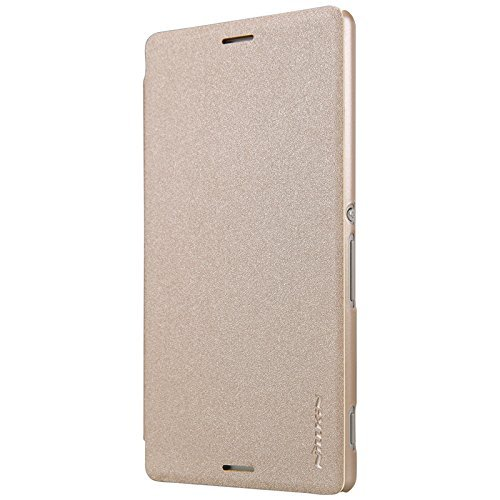 Newtronics Gold Colour Smart Nillkin Super Frosted Leather Holster Hard Bumper Back Flip Cover Case For Sony Xperia M4 Aqua  available at amazon for Rs.616