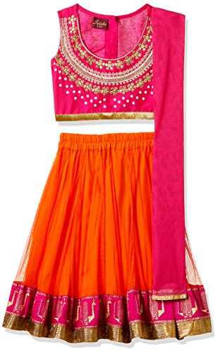 TWISHA Baby Girls' Regular Fit Ghagra Choli (AW17-XP-GCH137-06m_Pink and orange)