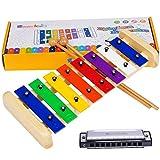 Xilofono Madera Instrumentos Musicales Niños - Smarkids Juguetes Musicales Instrumento de Percusión Infantil Musicales con 8 Note Teclas de Metal Multicolores y 2 Mazas Madera Seguras