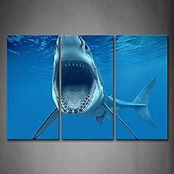 Groß Hai In Der Nähe Von Meer Oberfläche Öffnen Mund Im Blau Meer Wandkunst Malerei Das Bild Druck Auf Leinwand Tier Kunstwerk Bilder Für Zuhause Büro Moderne Dekoration