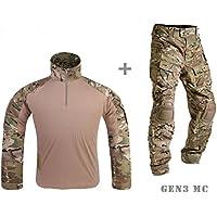 Mensche Militär Kleidung Paintball Uniform Kriegsspiel Kampf Gen3 Taktisch Uniform und Kniepolster Multicam MC