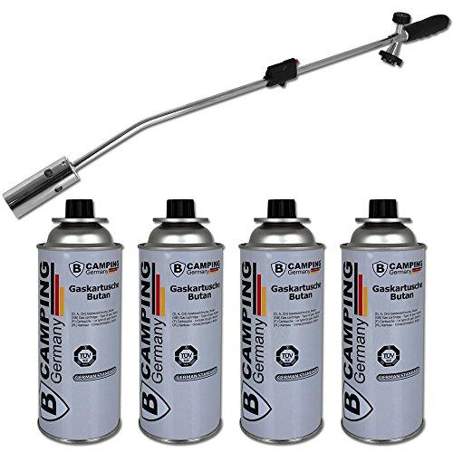 Unkrautvernichter - Unkraut - Unkrautbrenner mit 4 Gaskartuschen